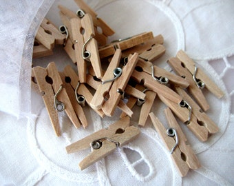 50 MINI Natural Wooden Clothespins for Wedding Favors, Scrapbooking, Party Favors, Embellishment, Gift Tags, 1 inch