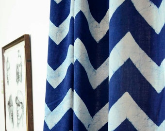 "50% OFF blue Chevron curtains chevron Curtain indigo dye window treatments window curtains blue Zig Zag curtains - ONE panel 84""L /108""L"