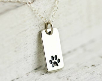 Paw Print Necklace - Sterling Silver Paw Print Tag Necklace - Pet Memorial Necklace - Dog Lover Gift Cat Lover Gift  Animal Lovers Jewelry