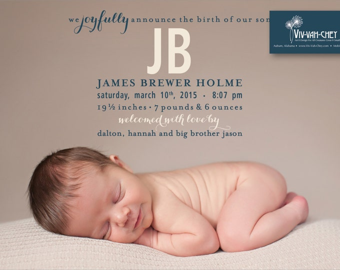 Sweet Brothers   Photo Birth Announcement