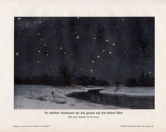 1900 NORTHERN LIGHTS LITHOGRAPH - original antique print  - celestial astronomy polar lights night starry sky