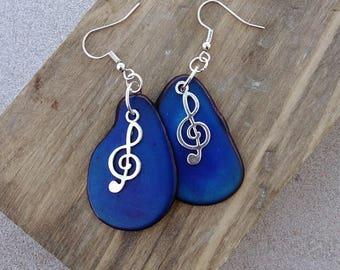 Blue Tagua Earrings ~ Music Charm Earrings ~ Music Jewelry ~ Treble Clef ~ Organic Natural Tagua Jewelry ~ Sustainable Fashion ~ Tagua Nut