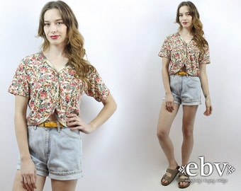 Cropped Top Midriff Top 1990s Top 90s Top 90s Crop Top 90s Floral Top Vintage 90s Garden Floral Crop Top S M Cropped Shirt