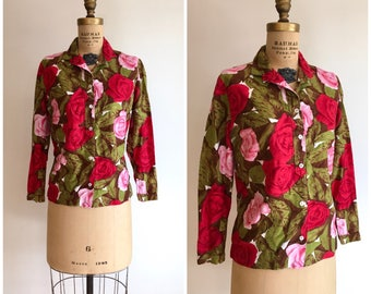 1950s 1960s Rose Print Blouse Shirt 50s 60s Aladdin Cotton Top