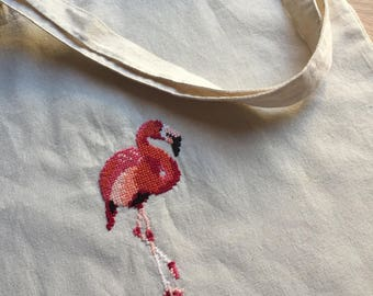 Canvas cotton bag with embroidered flamingo
