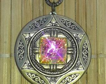 Pyramid Stargate - Art Deco Locket - mysterious cosmic universe triangle