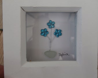 Sea glass and bead flower pot framed design