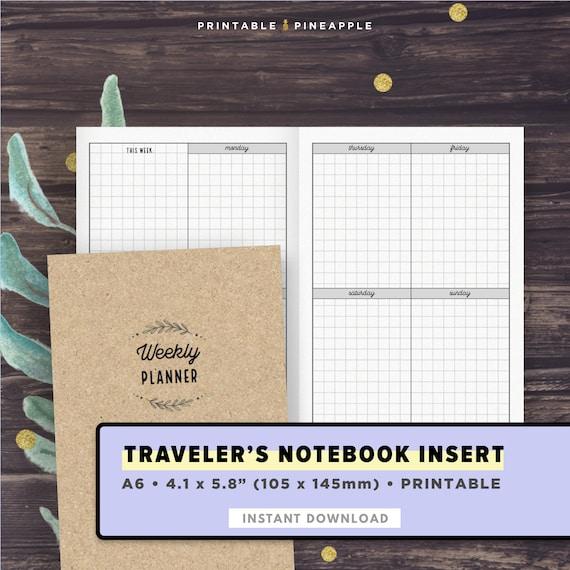 A6 Travelers Notebook Insert Printable Weekly Planner