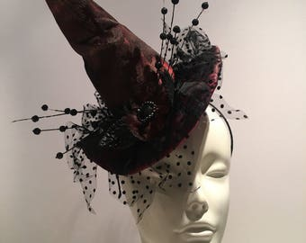 Witch Hat- Halloween Fascinator- Mini Witch Top Hat- Halloween Hat- Wicked Witch- Witch Costume- Spider Hat-Halloween Fascinator- Halloween