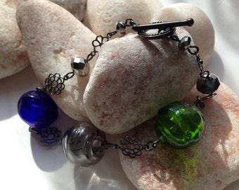Hollow Glass Lampwork Bead Bracelet SRA