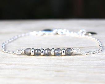 Bracelet gemstones labradorite and silver rings 925 on chain