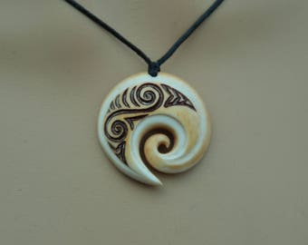 Maori Koru Ocean wave design~ engraved & naturally stained