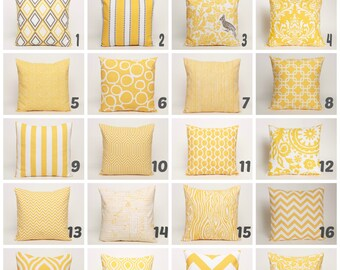 Yellow Throw Pillow Covers, Choose from a Variety of Premier Prints Cotton Fabrics, covers designed to fit 14, 16, 18, 20 or 22 inch inserts