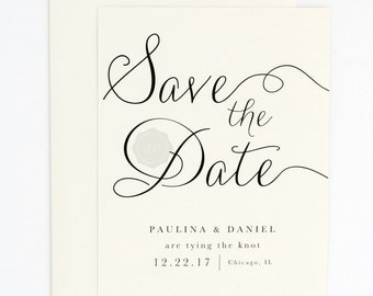 Elegant Wedding Save the Date - Modern, Elegant, Classic, and Simple - Calligraphy Script Wedding Save the Date (Paulina Suite)