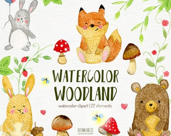 watercolor animals clipart, forest animals, woodland animals, Forest Animal Clipart, baby animals clipart, baby clipart, Cute animal clipart