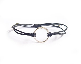 Black Friendship Bracelet, Twisted Eternity Bracelet, Black String Bracelet, UK Jewellery