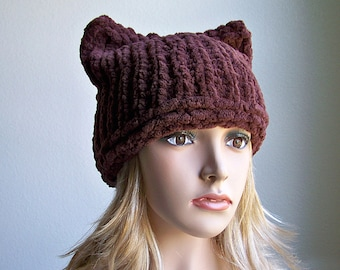 Knit Hat Pattern, Knitting Pattern Hat Pattern, Knitting Pattern Hat, Cat Hat, Cat Ear Hat, Cat Ear Beanie, Chunky Knit Hat, Cat Beanie Hat