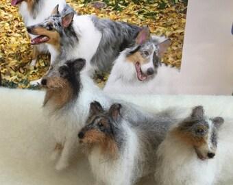 Needle Felted TIny Dog Pet Portrait Collie Sheltie