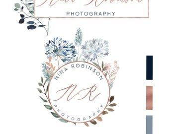 Premade Logo, Watercolor Logo, Logo, Photography Logo, Floral Logo, Flower Logo, Rose Gold Logo, Feminine Logo, Branding Kit