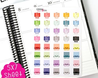 MC163 Pale Pack and Unpack Stickers! Perfect for Erin Condren, Happy, Mambi, Plum Paper and Personal Planners!
