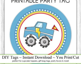 INSTANT DOWNLOAD - Printable Monster Truck Birthday Tag, Printable Party Tag, Cupcake Topper, you print, you cut, DIY party labels