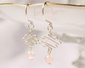 Rose Quartz Celtic Knot Earrings