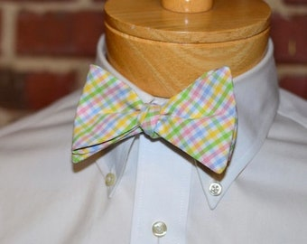Easter Tattersall Bow Tie~Mens Self Tie Bow Tie~Mens Pre-Tied~Anniversary Gift~HoBo Ties~Cotton Bow Tie~Wedding