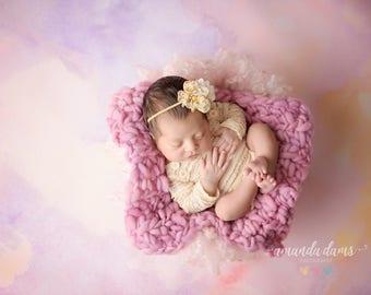 FLOWER HEADBAND, Ivory Headband, Yellow Flower, Headband, Newborn Headband, Baby Headband, Photo Prop, Photography Prop, Newborn Props