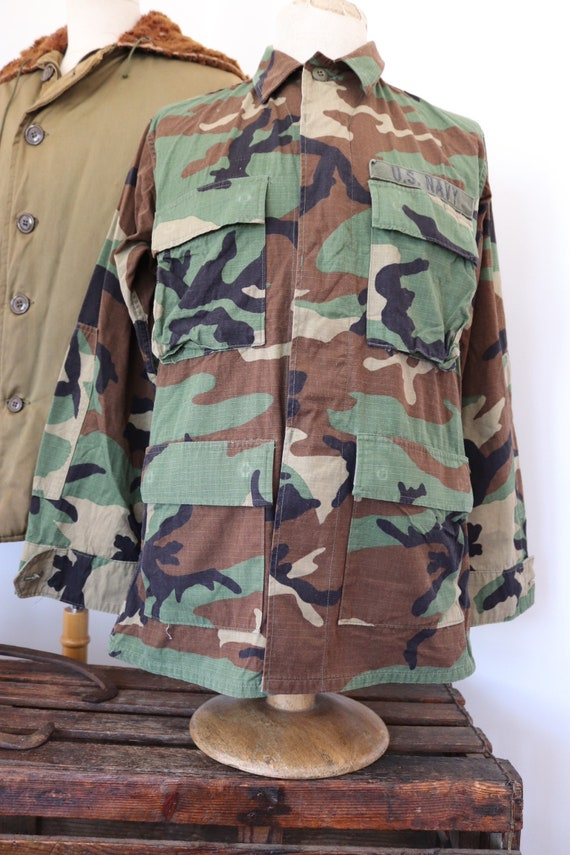 "Vintage 1990s 90s US Navy USN camo camouflage woodland field shirt jacket 43"" chest miltary (1)"