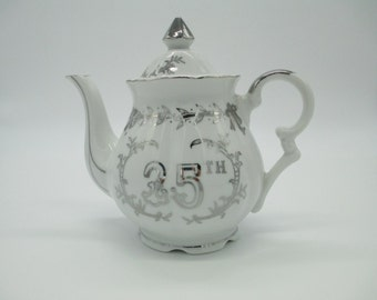 Vintage 25th. Anniversary Teapot- Lefton Bone China Teapot  -Made In Japan