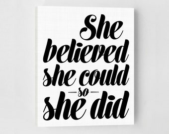 She Believed She Could So She Did, Canvas Quotes, Inspirational Wall Art, Gallery Wall Prints, Typography Wall Art, Gallery Wall, Canvas Art