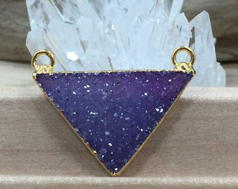 Triangle Pendant, Triangle Druzy Connector, Druzy, Drusy, 18K Gold Plated Pendant, Only One of Each Available, Dyed, Purple, PG0916O