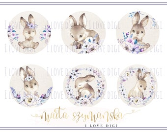 Easter printable digital collage sheet - pastel and watercolor animals - scrapbookind, cardmaking, party supplies