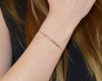 Tube and fine Gold filled chain bracelet * 14 k