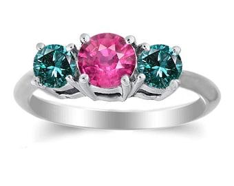 14k white gold ring fine gems pink sapphire blue diamond
