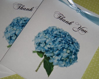 50 Custom Blue Hydrangea Personalized Thank You Note Cards for your Wedding Day