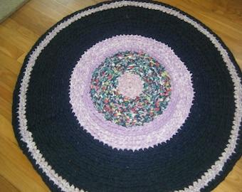 Navy Blue and Lavender Rag Rug\Navy Blue Rugs\Crochet Rag Rugs\Large Kitchen Rugs\Blue Rag Rugs