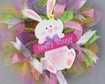 Easter bunny wreath Easter rabbit wreath,  Spring wreath, Door wreath