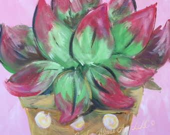 Deep Pink and Green Leaves Painting   Pink Background Leaf Painting   Art Prints
