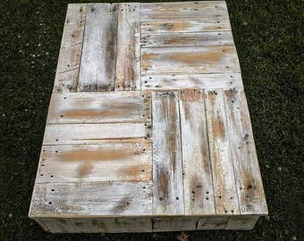 Distressed Coffee Table with Steel Hairpin Legs