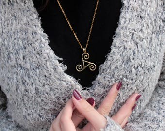 Triskel necklace Сeltic amulet Teen wolf Triskelion necklace Triskel yellow metal Celtic symbol Movement sun Fire water air Three elements
