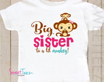 Big sister to a Lil Monkey Shirt Gender Reveal Shirt Personalized with Gender Blue or Pink Shirt Sibling Announcement