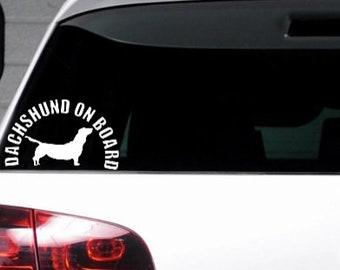 Dachshund on board Car Window Bumper Sticker Fun Funny Weird Vinyl Decal