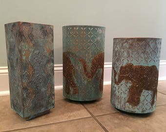 Beautiful Patina Lantern Set