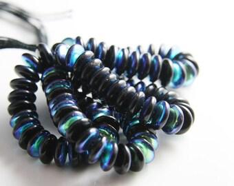 50pcs Czech Glass Beads Round Flat - Black AB 8mm (PG3379900) D*