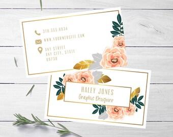 Business Card | Business Card Template | Business Card Design | Floral Business Card | Feminine Business Card