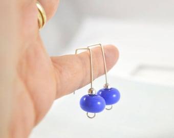Gift for Her - Blue Earrings - Drop Earrings - Handmade Jewellery - Blue Jewellery - Glass Earrings - Australian Jewellery - Modern Earrings