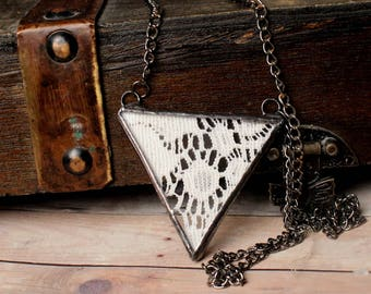 Vintage Lace Jewelry Necklace- Stained Glass Jewelry- Triangle Lace