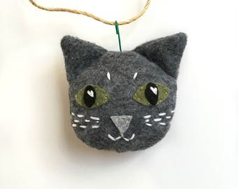 Cat Ornament, Felt Cat Ornament, Christmas Ornament, Gray Cat Ornament, Cat Lover Gift, Hand Embroidered