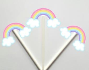 Rainbow Cupcake Toppers, Rainbow Baby Shower, Rainbow Birthday, Cupcake , Pastel Rainbow Cupcake Toppers